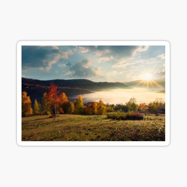 valley full of fog in mountainous countryside Sticker