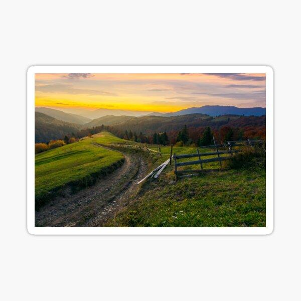 sunset in autumn mountains Sticker