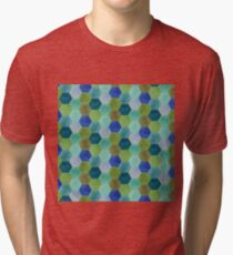 Blue and Green Hexies Tri-blend T-Shirt