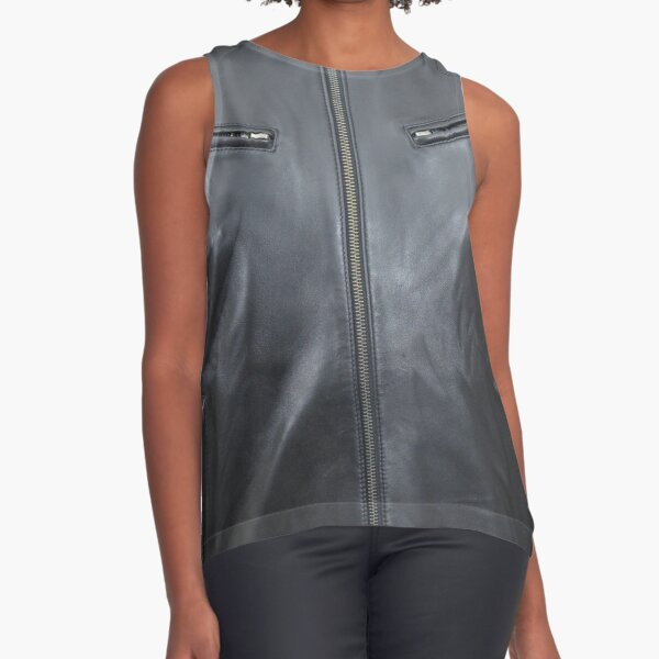 Quilted, Moto, Leather, Jacket, Front Sleeveless Top