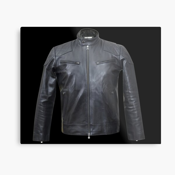 Quilted, Moto, Leather, Jacket, Front Metal Print