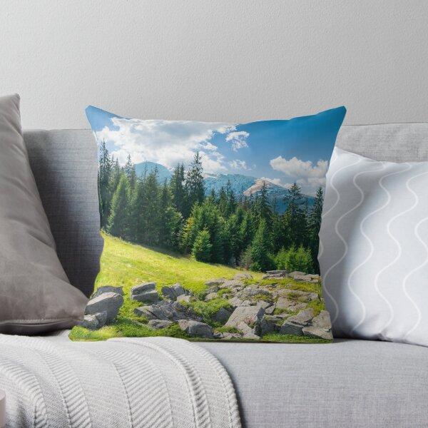 alpine summer landscape composite Throw Pillow
