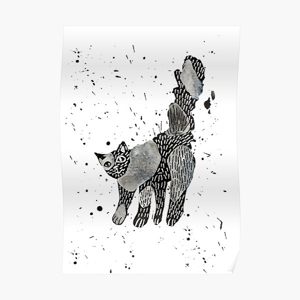 Scaredy Cat Abstract Ink Art Poster