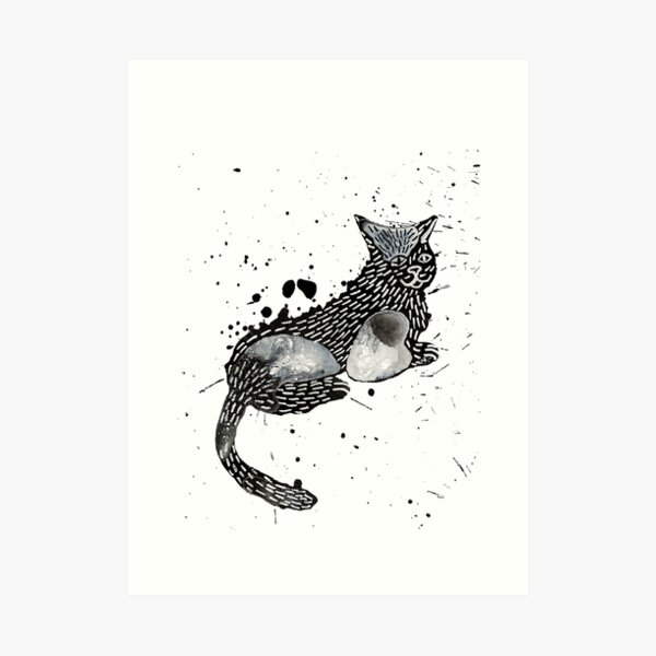 Chilled Ink Abstract Cat Art Print