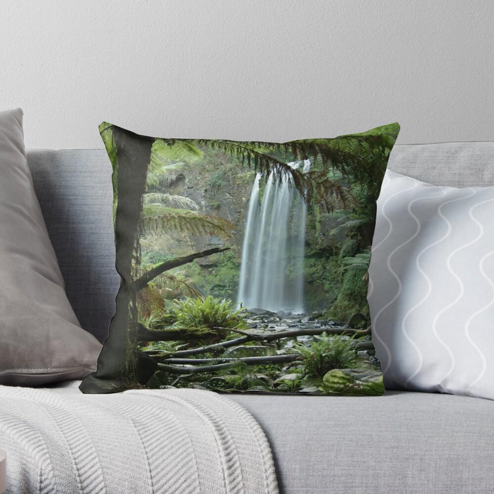 Joe Mortelliti Gallery - Hopetoun Falls, Otways Forest, Victoria, Australia. Throw Pillow