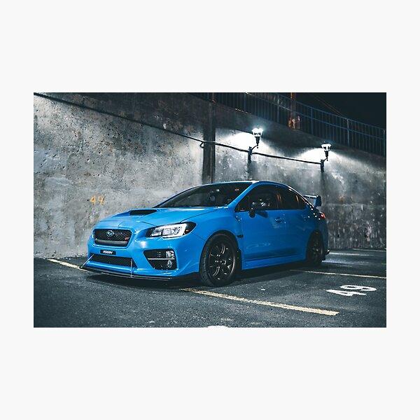 Hyper blue wrx sti parked at night Photographic Print