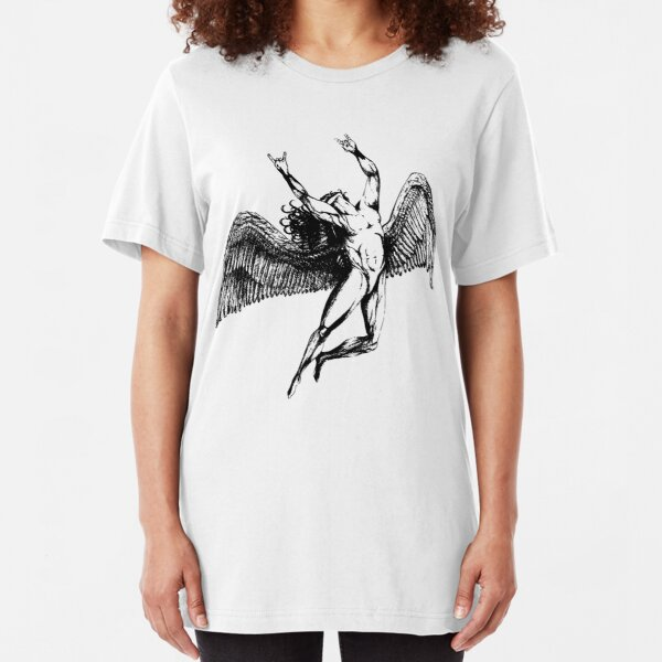 ICARUS THROWS THE HORNS - black  *awesome UNLISTED designs in my portfolio* Slim Fit T-Shirt