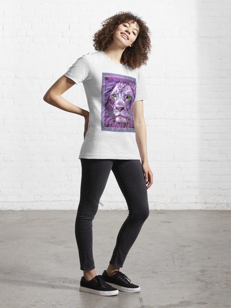 Alternate view of Colorful Lion Head Oil Paint unisex novelty graphics T-shirt Essential T-Shirt