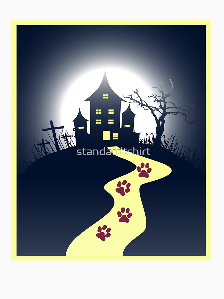 Dark Horror Castle Horror Cat House Unisex Novelty T-shirt by standardtshirt