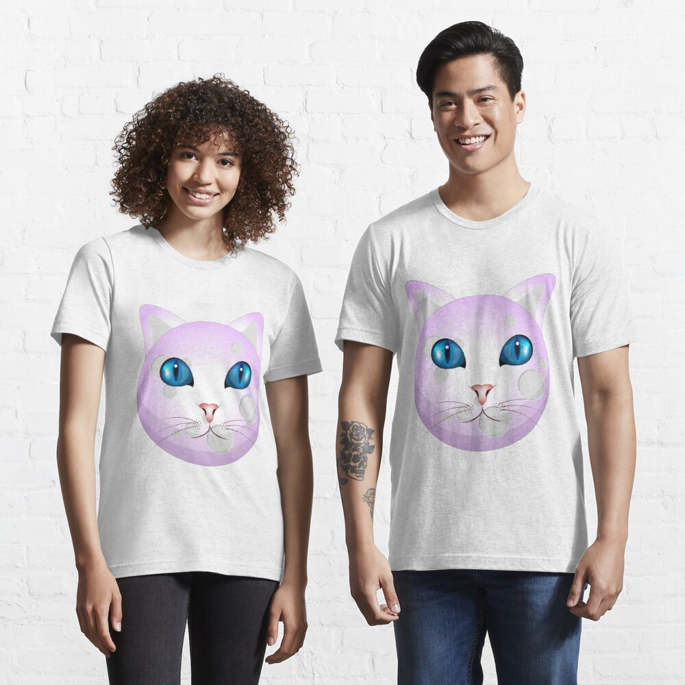 Funny Cat Face on Moon Unisex Novelty Graphics T-shirt Essential T-Shirt