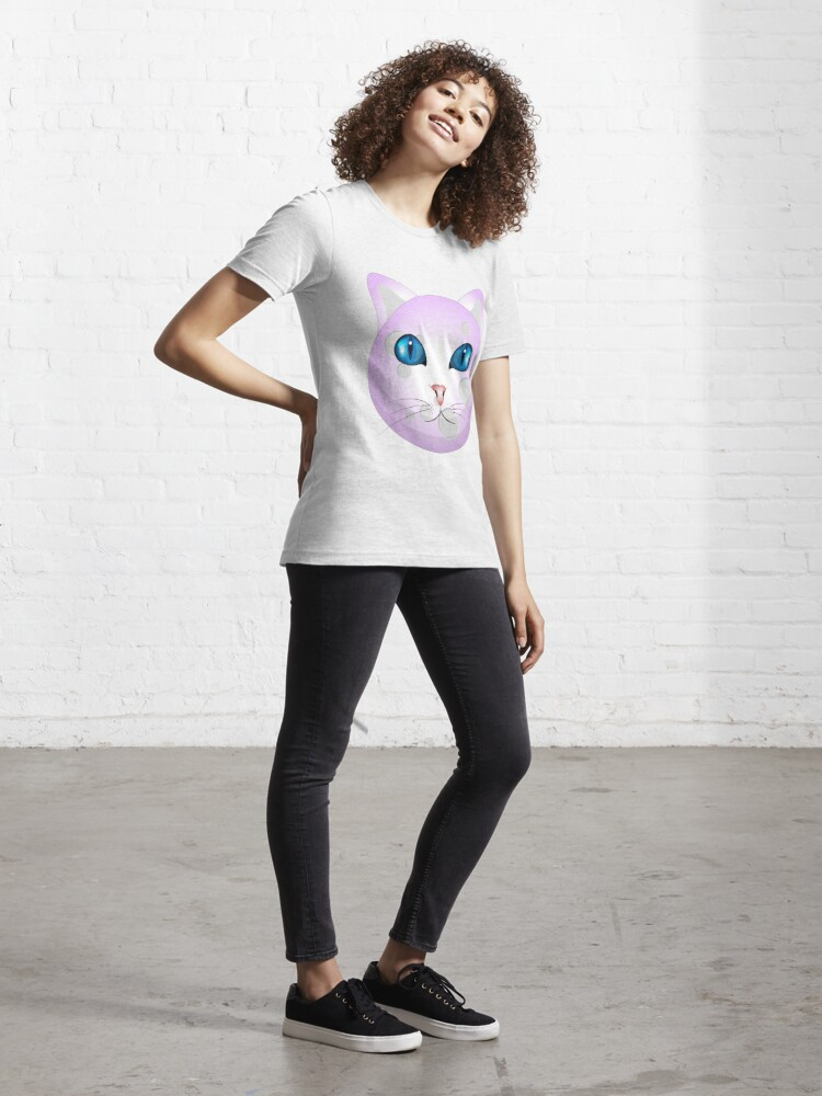 Alternate view of Funny Cat Face on Moon Unisex Novelty Graphics T-shirt Essential T-Shirt