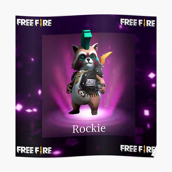mascota Rockie free fire Póster
