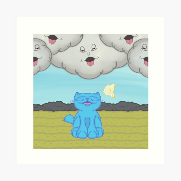 Milo Blue Cat Chatting With The Storm Clouds Cartoon Art Print