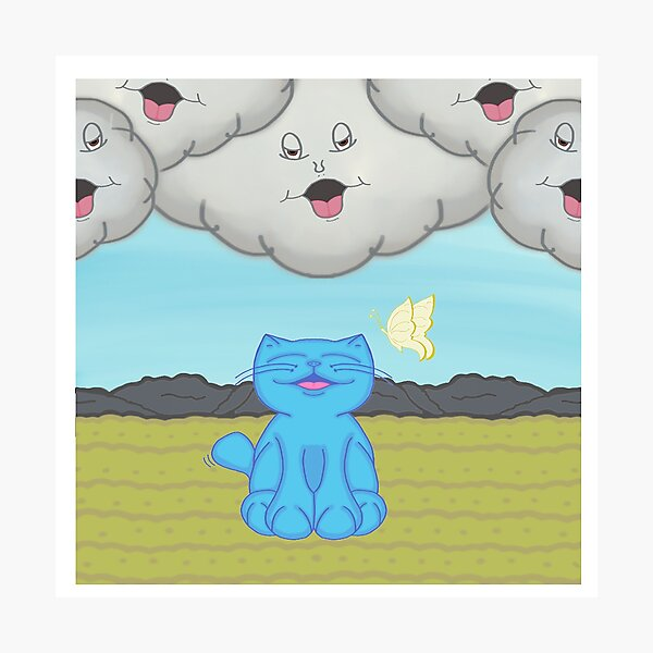Milo Blue Cat Chatting With The Storm Clouds Cartoon Photographic Print