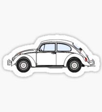 VW, Volkswagen, Beetle, Bug, Motor, Car, WHITE ON BLACK Sticker