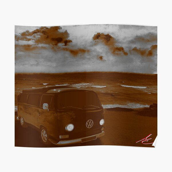 VINTAGE CLASSIC CAR VW KOMBI CAMPER VAN POSTER PICTURE PRINT Size A5 to A0 *NEW*