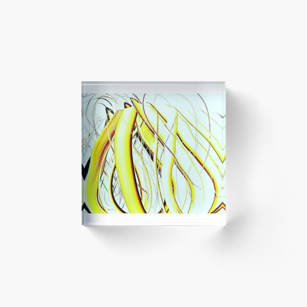 Nature, YELLOW, Ribbons, flame, smoke,decor Acrylic Block