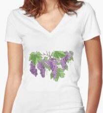 Wine making graps Women's Fitted V-Neck T-Shirt