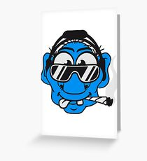 dj cool club joint smoking cannabis bong drug cannabis weed sunglasses headphones disco music dance party troll gnome kiffer face Greeting Card