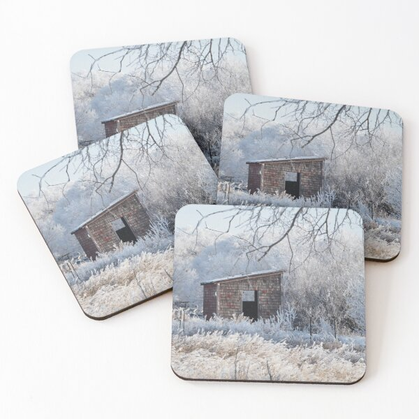 Winter Hoar Frost And Old Building Coasters (Set of 4)