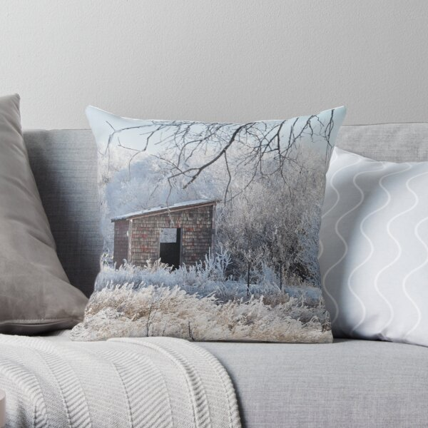 Winter Hoar Frost And Old Building Throw Pillow