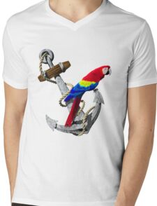 Parrot And Ship Anchor Mens V-Neck T-Shirt