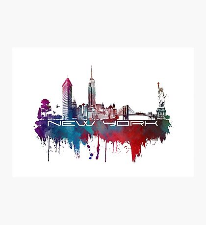 New York skyline blue Photographic Print