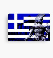 Greek flag Warrior  Canvas Print