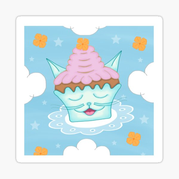 Cute Kitty Face Cupcake Flying On Doily Cartoon Sticker