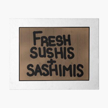 Fresh sushis and sashimis Art Board Print