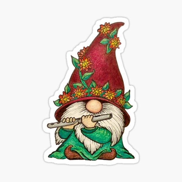 Gnome playing the Flute Sticker