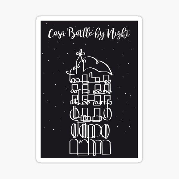 Casa Batllo by Night in onedraw Sticker