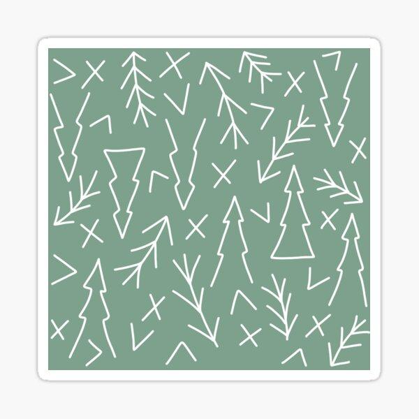 Mint Green Tree and Branches Geometric Pattern Line Art Sticker
