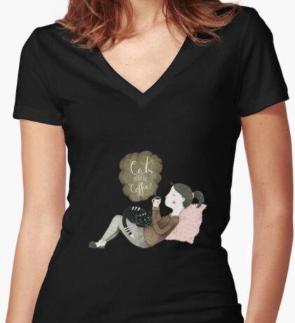 Cats and Coffee Women's Fitted V-Neck T-Shirt