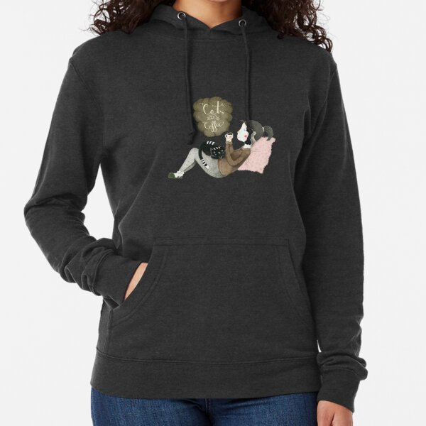 Cats and Coffee Lightweight Hoodie