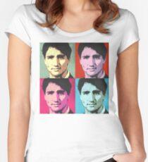 Justin Trudeau Pop Art Women's Fitted Scoop T-Shirt