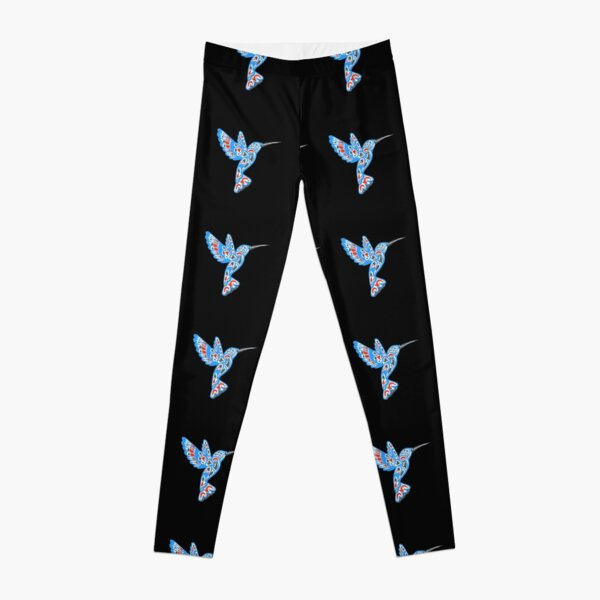 Humming Bird great gift ideas for bird lovers traditional totem abstract artwork pacific northwest coastal native american indian tribal art kids women men girls adults birthday gifts Leggings
