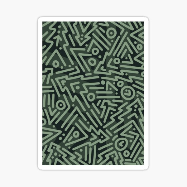 Christmas Tree Doodle Abstract Line Art Pattern Sticker
