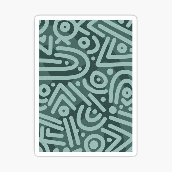 Teal Doodle Geometric Line Art Pattern Sticker