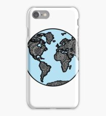 Blue World Map with Mandala Details iPhone Case/Skin
