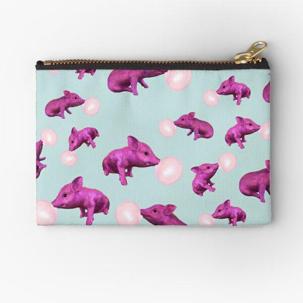 Pink Pig Left Zipper Pouch