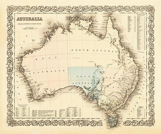 MAP of MYSTERIOUS AUSTRALIA  c. 1850 by Daniel-Hagerman