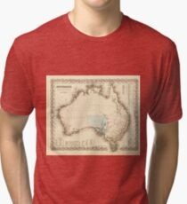 MAP of MYSTERIOUS AUSTRALIA  c. 1850 Tri-blend T-Shirt
