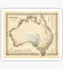 MAP of MYSTERIOUS AUSTRALIA  c. 1850 Sticker