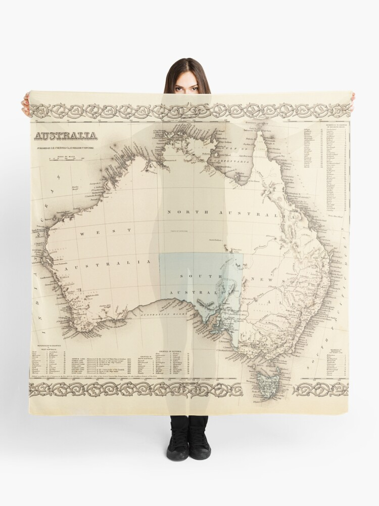 Australia Map 1850.Map Of Mysterious Australia C 1850 Scarf By Daniel Hagerman