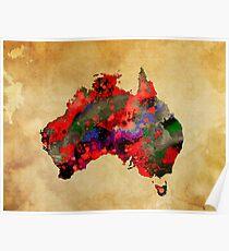 WATERCOLOR MAP of AUSTRALIA Poster