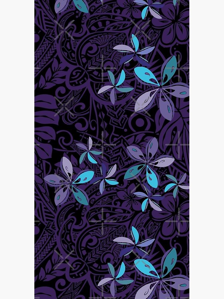 Hawaiian Purple Tiare Tribal Jungle Print by sunnthreads