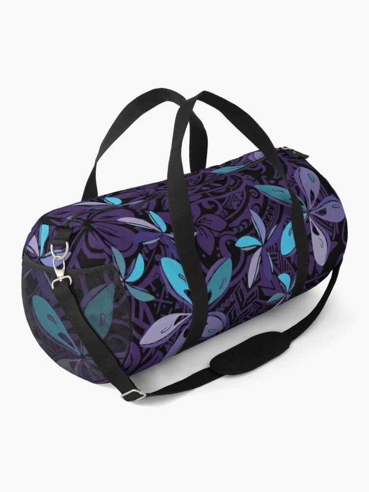 Alternate view of Hawaiian Purple Tiare Tribal Jungle Print Duffle Bag