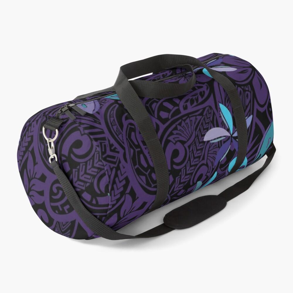 Hawaiian Purple Tiare Tribal Jungle Print Duffle Bag