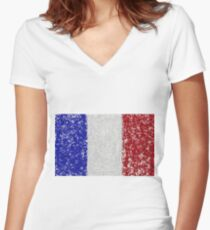 French Flag Splat Painting Women's Fitted V-Neck T-Shirt